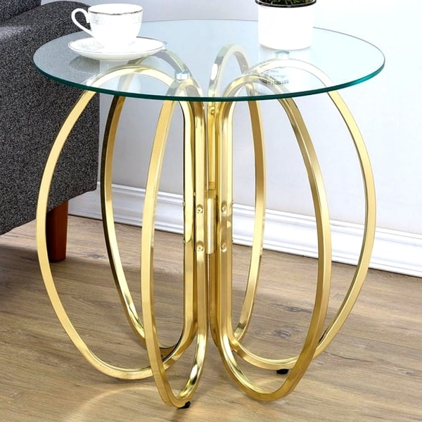 Shop Glamorous Brass Finish Uniquely Crafted Accent Table