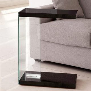 Modern Black Sleek Design Snack Accent Table with Tempered Glass Base