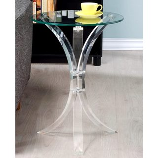 Modern Design Curved Base Accent Table with Glass Top