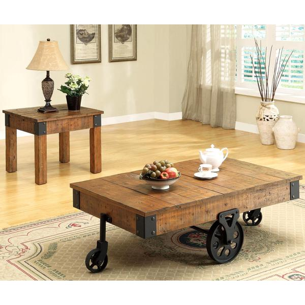 Captivating Industrial Rustic Wagon Design Occasional Table Set With Functional Iron  Wheels