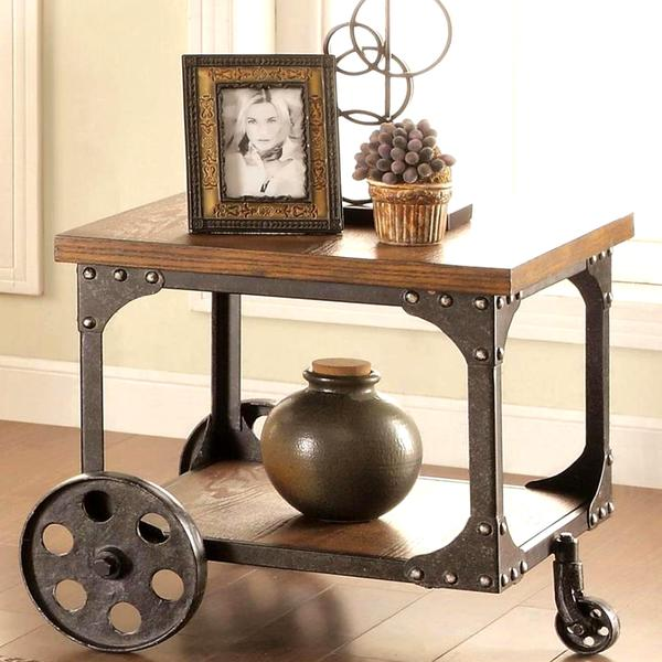 Superieur Industrial Cart Design Occasional End Table With Functional Iron Wheels