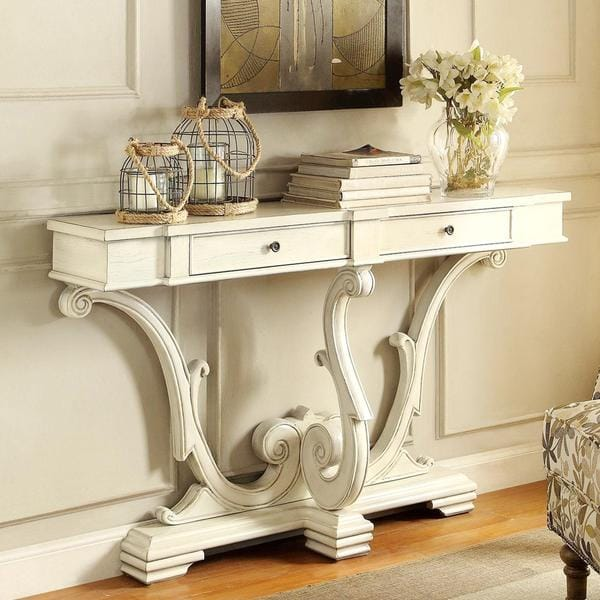 antique white console table Shop French Sanctuary Design Antique White Accent Console Table  antique white console table
