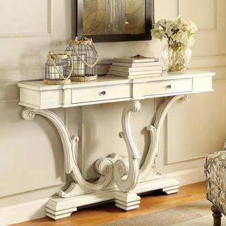French Sanctuary Design Antique White Accent Console Table