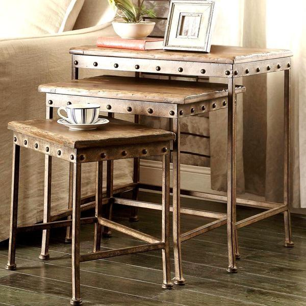 Industrial Design Antique Bronze Metal Brown Wood 3 Piece Nesting Table Set