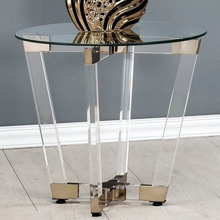 Modern Glam Design Acrylic Interlocking Base Accent Table with Clear Glass Top