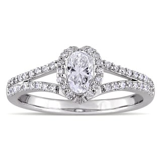 Miadora Signature Collection 14k White Gold 3/4ct TDW Oval and Round-Cut Diamond Heart Split-Shank Engagement Ring (G-H, I1-I2)