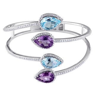 Miadora Signature Sterling Silver Pear-Shaped Amethyst and Blue Topaz-Sky 1-1/2ct TDW Triple Coil Bangle (G-H, I1-I2)