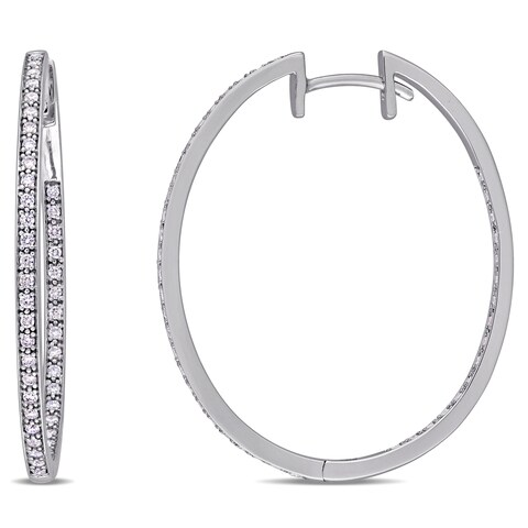 Miadora Signature Collection 10k White Gold 2/5ct TDW Diamond Slender Hoop Earrings