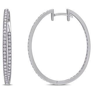 Miadora Signature Collection 10k White Gold 2/5ct TDW Diamond Slender Hoop Earrings|https://ak1.ostkcdn.com/images/products/14291957/P20875740.jpg?impolicy=medium