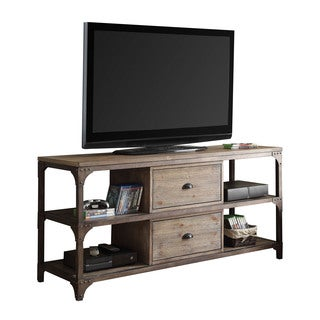 Acme Furniture Gorden TV Stand, Weathered Oak & Antique Silver