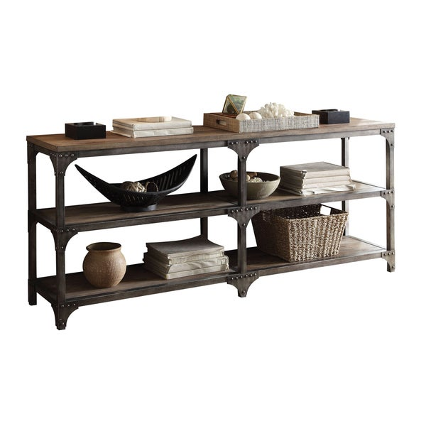 Acme Furniture Weathered Oak Antique Silver Gorden Console Table
