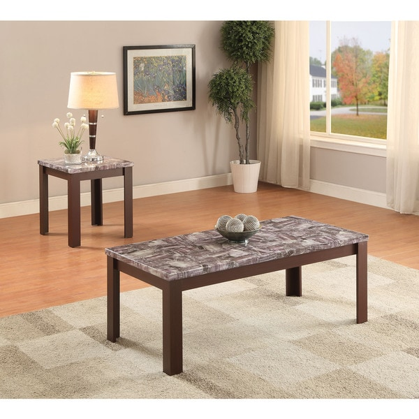 Acme Furniture Arabia Cherry Faux Marble 2-piece Coffee/ End Table Set
