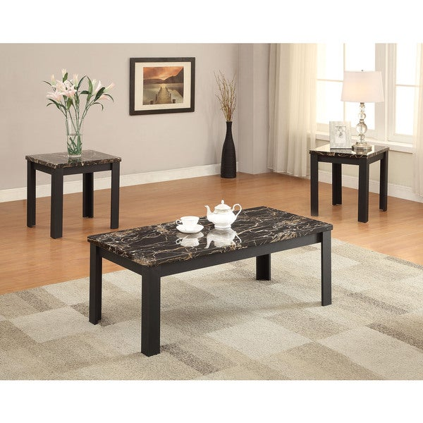 Marble Bistro Accent Table: Shop Acme Furniture Carly Black Faux Marble 3-piece Coffee