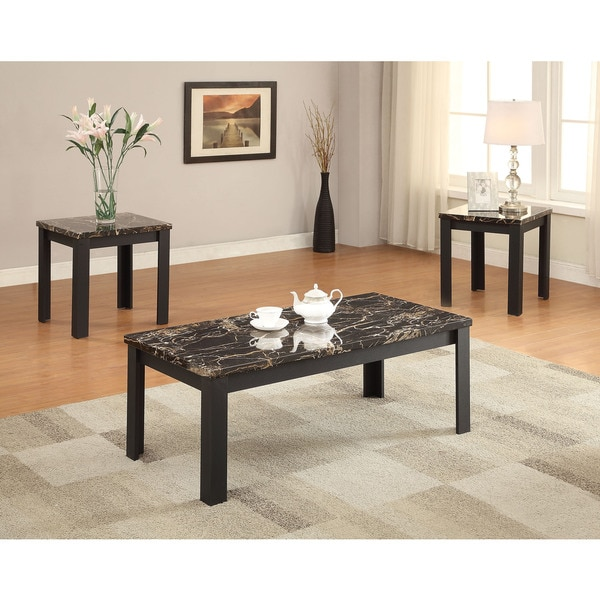 Marble Coffee Table Walmart: Shop Acme Furniture Carly Black Faux Marble 3-piece Coffee