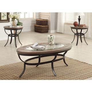 Acme Furniture Everton Oak and Antique Black Coffee/End Table Set (Set of 3)
