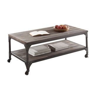 Acme Furniture Gorden Weathered Oak and Antique Nickel Metal Coffee Table
