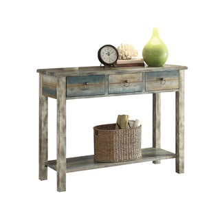 Acme Furniture Glancio Antique White and Teal Oak Console Table