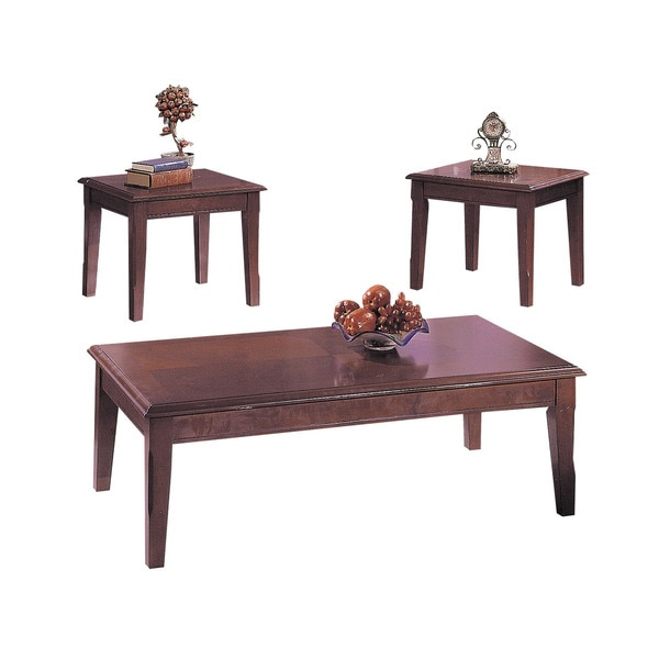 Acme Furniture Chester Merlot Veneer 3-piece Coffee Table and End Table Set