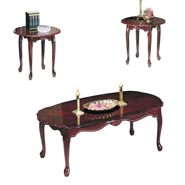 shop acme furniture essex cherry 3 piece coffee and end table set free shipping today. Black Bedroom Furniture Sets. Home Design Ideas