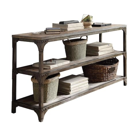 Acme Furniture Gorden Weathered Oak and Antique Silver Console Table