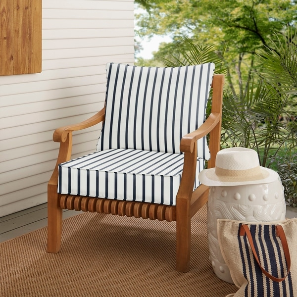 Shop Sunbrella Lido Indigo Indoor Outdoor Chair Cushion And Pillow