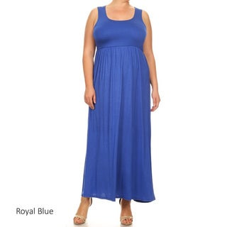 Women's Rayon and Spandex Plus-size Sleeveless Solid Dress