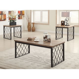 Acme Furniture Catalina Three-piece Pack Light Oak and Gray Coffee/End Table Set