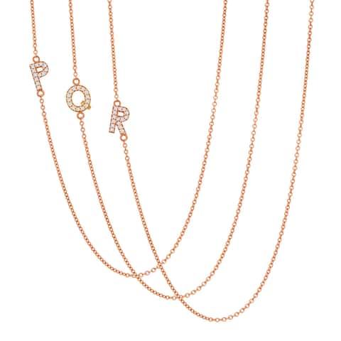 Auriya 14k Gold 1/10ct TDW Initial Diamond Necklace