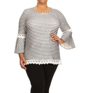 Women's Plus Size Striped Lace Trim Tunic