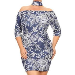 Women's Spandex Blend Plus Size Bodycon Floral Dress