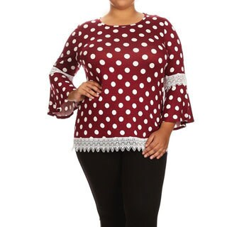 Women's Polka Dot Lace Trim Tunic