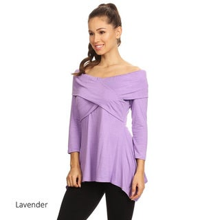 Women's Rayon and Spandex Solid Wrapped Bodice Tunic