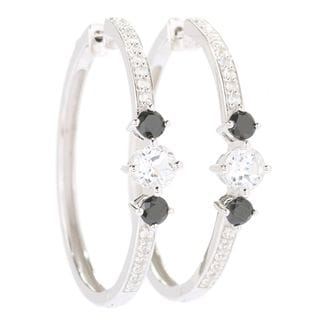 """Sterling Silver 1.5"""" Round White Toapz & Black Spinel Hoop Earrings"""