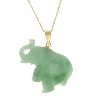 "Gems for You 18"" 10KY Carved Jade Elephant Pendant"