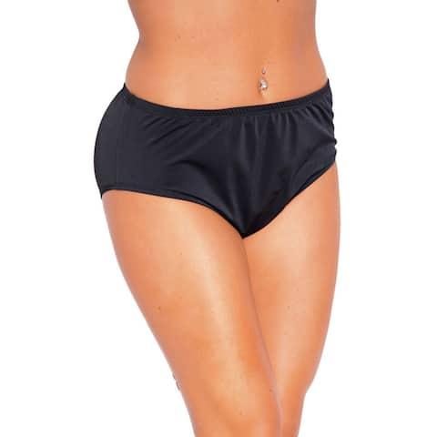 Famous Maker Women's Black Nylon and Spandex High-waist Brief Swimsuit Bottoms