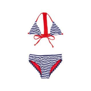 Famous Maker Girl's Navy Nylon Striped Racerback Braided Triangle Bikini Set