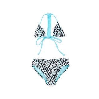 Famous Maker Girls' Turquoise Angles Racerback Braided Triangle Bikini Set
