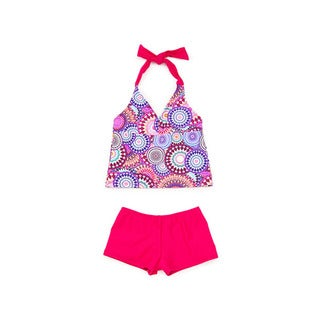 Famous Maker Girls' Carnival Pink Nylon and Spandex Halter Tank Boyshort Tankini