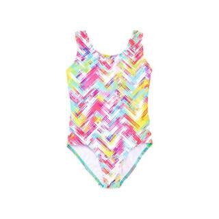 Famous Maker Girls' Mint Multicolor Nylon and Spandex Plaid 1-piece Tank Swimsuit