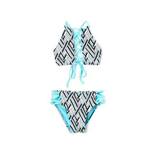Famous Maker Girls' Turquoise Angles Hi-neck Lace Up Top and Strappy Bikini Bottom