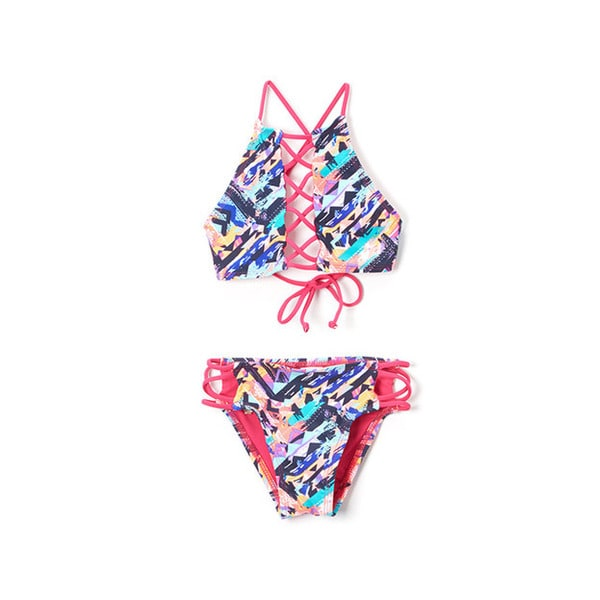 6fa8dea67e3a96 Shop Famous Maker Girls  Multi-ethnic High-neck Lace-up Top and Strappy  Bikini Bottom Swimsuit - Free Shipping On Orders Over  45 - Overstock -  14292388