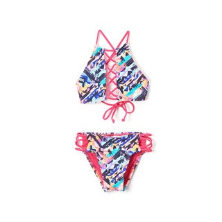 Dippin' Daisy's Girls' Multi-ethnic High-neck Lace-up Top and Strappy Bikini Bottom Swimsuit