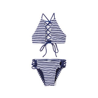 Dippin' Daisy's Girls' Navy Stripe White and Blue Nylon and Spandex Hi-neck Lace-up Top and Strappy Bottom Bikini