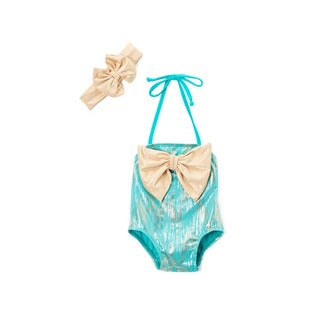 Dippin' Daisy's Infant and Toddlers Green Aquatic Spandex Blend Swimsuit with Bow Headband
