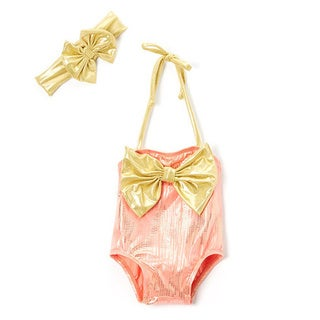 Dippin' Daisy Infant and Toddlers' Orange Mermaid Spandex Blend Swimsuit with Bow Headband