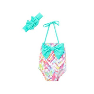 Dippin' Daisy's Girl's Infant and Toddlers' Mint Plaid Bow One Piece with Bow Headband