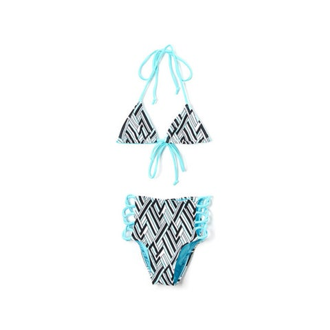 Famous Maker Girl's Turquoise Angles Triangle Bikini Top High Waist Lace Up Bottom