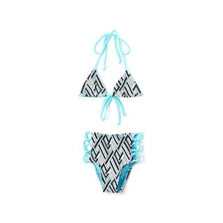 Dippin' Daisy's Girl's Turquoise Angles Triangle Bikini Top High Waist Lace Up Bottom