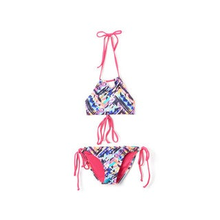 Dippin' Daisy's Girls' Multi Ethnic Multicolored Halter Hi-neck Keyhole Top and Bikini Bottom