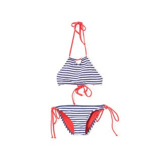 Dippin' Daisy's Girl's Navy Stripe Halter Hi-Neck Keyhole Top and Bikini Bottom